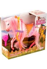 Rosa Pferd mit lange Haare und Bürsten