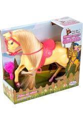 Gelbes Pferd mit langen Haaren und Bürste