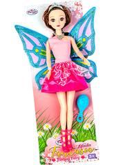 Muñeca Hada 30 cm. Vestido Rosa y Fucsia