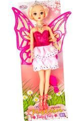 Boneca Fada 30 cm. Vestido Cor-de-rosa com Alças