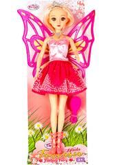 Muñeca Hada 30 cm. Vestito Rosa con Brillo en la Falda