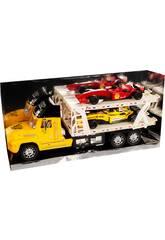 Camion Porte-voitures Jaune avec 2 Formule 1