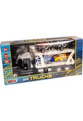 Schwarzer Autoträger-Truck mit 2 Wagen und 2 Quad