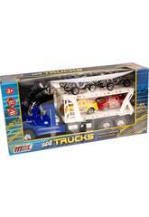 Blauer Autoträger-Truck Mit 2 Wagen und 2 Quad