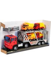 Roten 29cm Reibungtruck Fahrzeugträger mit 4 Baufahrzeugen