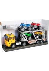 Camión Fricción Amarillo 29 cm. Porta Vehículos con 4 Quad