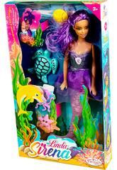 Muñeca Sirena 30 cm. con Cola Lila