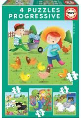 Puzzle Progresivos 6-9-12-16 Animales De La Granja de Educa 17145