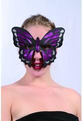 Masque Glitter Papillon Mauve
