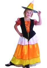 Disfraz Bruja Calabaza Elegante Niña Talla S