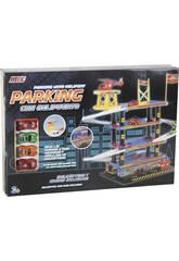 Parking 4 hauteurs avec 4 Véhicules + 1 hélicoptère 45 x 20 x 50 cm