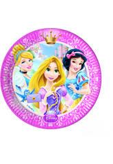 Princesas Glamour pack 8 platos 23 cm.