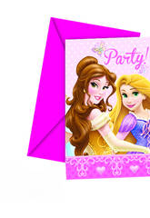 Princesses Glamour Pack 6 Invitations