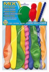 Pochette 20 ballons pastel opaque en formes