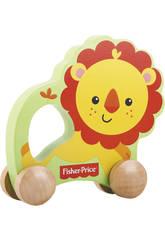 Lion sur roues en bois