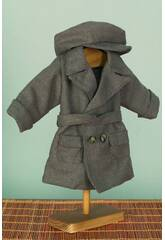 Mantel graues Tuch mit Kappe