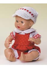 Mini Juanin Bébé Barboteuse rouge et casquette tricot Blanche