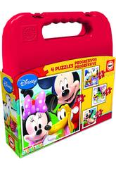 Puzzle Progressivos Mickey Mouse 12 - 16 - 20 - 25 Educa 16505