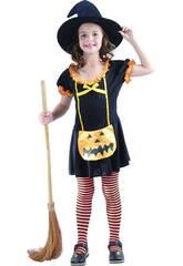 Disfraz Bruja Calabaza Feliz Niña Talla M