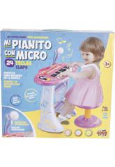 Instrumento Musical Piano Con Banqueta Rosa 3 años
