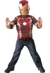 Costume Iron Man Petto Musculi e Maschera Taglia M