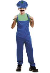 Disfraz Niño XL Super Plumber Verde