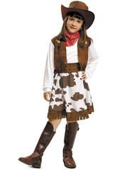 Disfraz Niña S Vaquera Blanco y Marrón con Sombrero