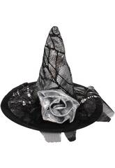 Mini sombrero plateado 14.5 cm. bruja