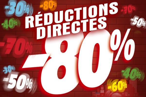 Réductions directes de 30% à 80% sur une sélection d'articles