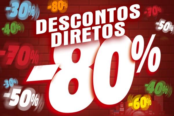 Descontos diretos de 30% a 80% em uma seleção de itens