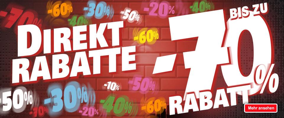 Direkten Rabatten von 10% bis 70% in einer Auswahl von Artikeln