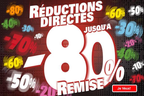 Réductions directes de 10% à 80% sur une sélection d'articles